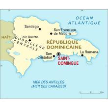 La République dominicaine, à l'Est d'Haïti, sur l'île d'Hispanala