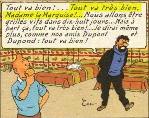 """Case extraite """"Le temple du soleil"""", le 14e album des aventures de Tintin, publié par Hergé en 1949 (et de 1946 à 1948 dans le journal """"Tintin"""")"""