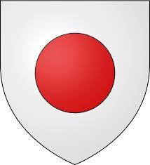 D'argent au tourteau de gueules (blason de la famille de Montpellier)
