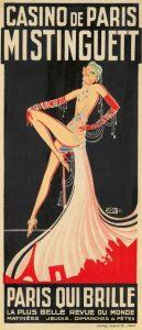 """Affiche du Casino de Paris pour la revue """"Paris qui brille"""" avec en vedette la chanteuse et danseuse française Mistinguett"""