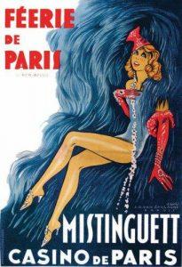 """Affiche du Casino de Paris pour la revue """"Féérie de Paris"""" avec en vedette la chanteuse et danseuse française Mistinguett"""
