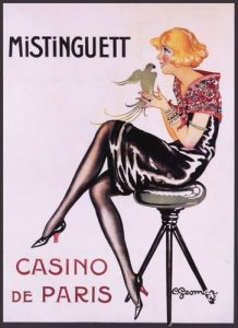Affiche du Casino de Paris avec en vedette la chanteuse et danseuse française Mistinguett