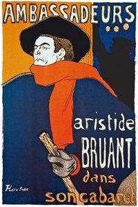 Le chansonnier et écrivain français Aristide Bruant peint par le peintre Toulouse-Lautrec