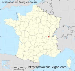 Localisation de la ville de Bourg-en-Bresse (01)