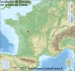 Localisation de la ville de Descartes (37)