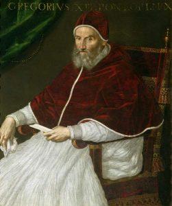 """Le pape Grégoire XIII, 226e pape de l'Église catholique, élu le 13 mai 1572 et décédé à Rome le 10 avril 1585. Né à Bologne le 7 janvier 1502, il est l'instigateur, en 1582, de notre actuel calendrier, dit """"calendrier grégorien""""."""