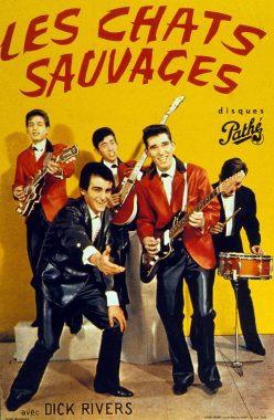 """Le groupe de rock français """"Les chats sauvages"""" et son chanteur Dick Rivers"""