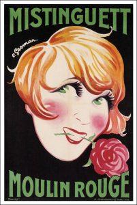 Affiche du Moulin Rouge de 1926 avec en vedette la chanteuse et danseuse française Mistinguett