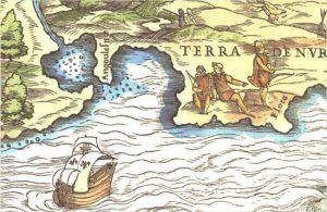 """Carte de la baie de New York et de Manhattan, baptisés """"Baie Sainte-Marguerite"""" et """"Angoulesme"""" (""""Angoulême""""), en avril 1524, par le navigateur florentin Giovanni da Verrazzano, en hommage au roi François 1er, compte d'Angoulême, et à sa soeur Marguerite de Valois"""