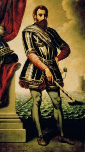 """Le navigateur florentin Giovanni da Verrazano, fondateur de la ville de New York, baptisée """"Angoulesme"""" (""""Angoulême"""") en hommage au roi de France François 1er, comte d'Angoulême, qui lui avait fourni son navire, la Dauphine"""