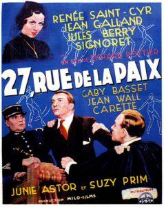"""Affiche du film français """"27, rue de la paix"""" de Richard Pottier (1936)"""