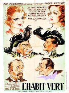 """Affiche du film français """"L'habit vert"""" de Roger Richebé (1937)"""