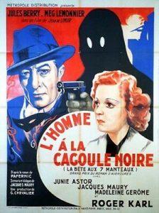 """Affiche du film français """"L'homme à la cagoule noire"""" (ou """"La bête aux sept manteaux"""") de Jean de Limur (1937)"""