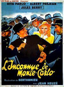 """Affiche du film français """"L'inconnue de Monte-Carlo"""" de André Berthomieu (1938)"""