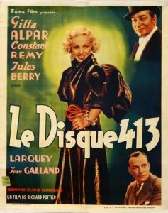 "Affiche du film français ""Le disque 413"" de Richard Pottier (1935)"