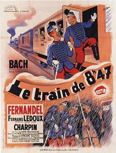 """Affiche du film français """"Le Train de 8h47"""" de Henry Wulschleger (1934), adapté du roman éponyme de Georges Courteline (1888)"""