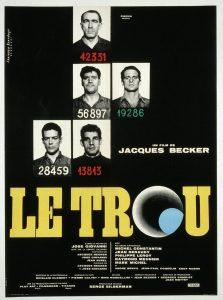 """Affiche du film français """"Le trou"""" de Jacques Becker (1960)"""