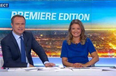 """Les journalistes français Christophe Delay et Pascale de la Tour du Pin, présentateurs de l'émission de télévision matinale """"Première édition"""" sur BFM Business"""