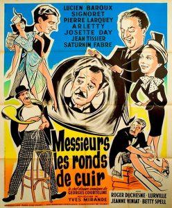 """Affiche du film français """"Messieurs les ronds-de-cuir"""" de Yves Mirande (1936), adapté du roman éponyme de Georges Courteline (1893)"""