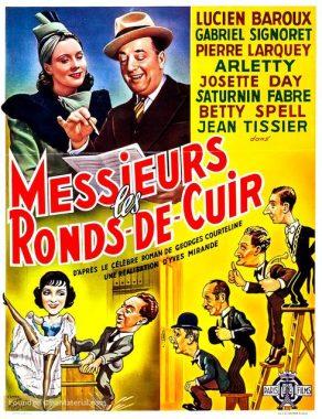 """Affiche belge du film français """"Messieurs les ronds-de-cuir"""" de Yves Mirande (1936), adapté du roman éponyme de Georges Courteline (1893)"""