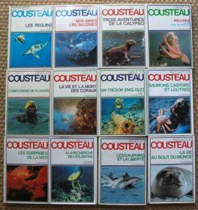 """La collection de livres """"L'odyssée du commandant Cousteau"""", parue chez Flammarion, dans les années 1980"""