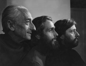 Le commandant Jacques-Yves Cousteau et ses fils Philippe Cousteau et Jean-Michel Cousteau