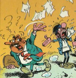 Monsieur de Mesmaecker fou furieux jetant en l'air les contrats, au grand désespoir de Prunelle