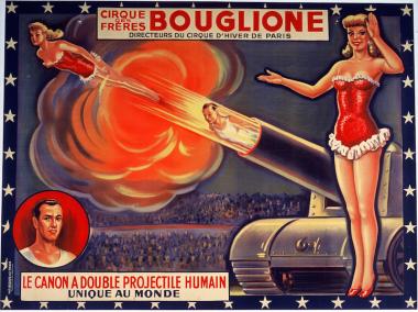 Un homme-canon et une femme-canon du cirque Bouglione
