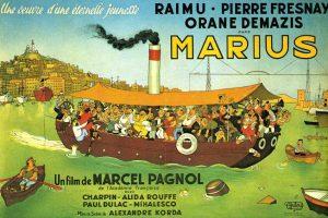 """Affiche du film français """"Marius"""" d'Alexandre Korda (1931) d'après la pièce de théâtre homonyme de Marcel Pagnol (1927)"""
