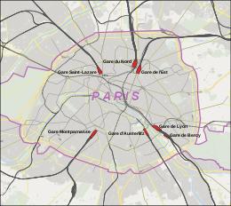 Implantation des six grandes gares parisiennes, avec la gare Saint-Lazare au Nord-Ouest