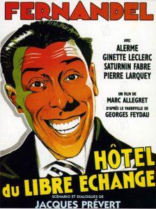 """Affiche du film français """"Hôtel du libre échange"""" de Marc Allégret (1934) d'après Georges Feydau"""