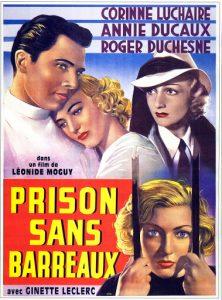 """Affiche du film français """"Prison sans barreaux"""" de Léonide Moguy (1938)"""