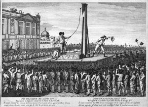 La mort du roi Louis XVI, le 1 janvier 1793, place de la Révolution (aujourd'hui place de la Concorde), à Paris (75)