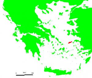 Localisation de l'île d'Icare, dans la mer icarienne (partie de la mer Méditerranée située dans la mer Égée), au Sud-Est de la Grèce