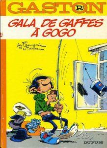 """""""Gala de gaffes à gogo"""", album R1 de la série de bande dessinée belge """"Gaston Lagaffe"""", dessiné par André Franquin avec des décors de Jidéhem, et reprenant les albums demi-format 1 (""""Gala de gaffes"""") et 2 (""""Gaffes à gogo"""")"""