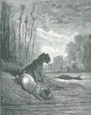 """Gravure de Gustave Doré (1867) illustrant la fable de Jean de La Fontaine """"Les deux chiens et l'âne mort"""" (1678)"""