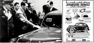 Herman Goering, Adolf Hitler et Louis Renault, au Salon de l'automobile de Berlin, en 1935 : l'industriel français leur présente le prototype de sa Juvaquatre