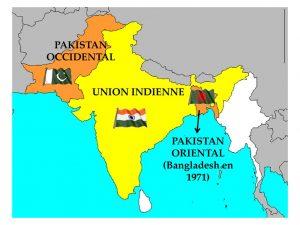 Le Pakistan Oriental et le Pakistan Occidental, en 1947