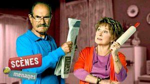 """Raymond (Gérard Hernandez) et Hughette (Marion Game) dans le feuilleton français """"Scènes de ménage"""", sur M6"""