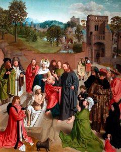La résurrection de Lazare de Béthanie : mort et enterré depuis quatre jours, il serait sorti de son spulcre sur ordre de Jésus