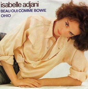 """Disque 45 tours d'Isabelle Adjani de 1983, comportant les chansons """"Beau oui comme Bowie"""" et """"Ohio"""""""