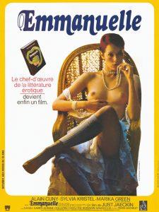 """Affiche du film érotique français """"Emmanuelle"""" de Just Jaeckin (1974) d'après le roman homonyme d'Emmanuelle Arsan (1959)"""