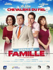 """Affiche du film français """"Repas de famille"""", d'Éric Carrière et Francis Ginibre, les membres du duo comique """"Les chevaliers du fiel"""" (2014)"""