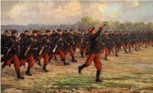 Une charge à la baïonnette de l'infanterie française, en 1914