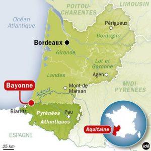 Localisation de la ville de Bayonne (64)