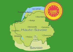 """Localisation géographique des zones de production de l'AOP (Appellation d'Origine Protégée) - équivalent de l'AOC (Appellation d'origine Contrôlée) au niveau européen - """"Reblochon de Savoie"""""""
