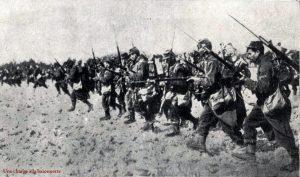 Une charge à la baïonnette de l'infanterie française, durant la Première Guerre mondiale