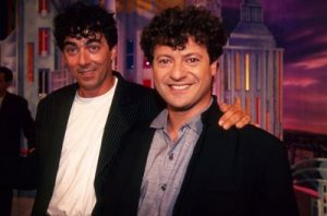 """Le duo comique français """"Les chevaliers du fiel"""", constitué des toulousains Éric Carrière et Francis Ginibre, en 1996"""
