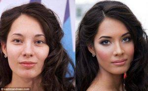 Une jolie femme, avant et après maquillage