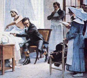 Le docteur René Laennec auscultant un malade
